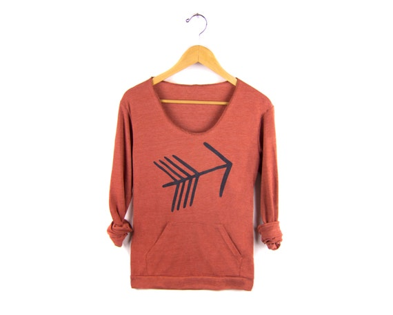 Tribal Arrow Hand Stenciled Slouchy Eco Heather Deep Scoop Neck Lightweight Sweatshirt in Heather Clay and Black - S M L XL