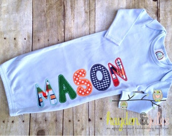 Applique Name Boy Baby Gown - Choose Your Fabric