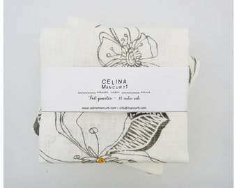 Linen Fat Quarter - Areco Off white- hand screen printed linen by celina mancurti - Free Shipping to USA