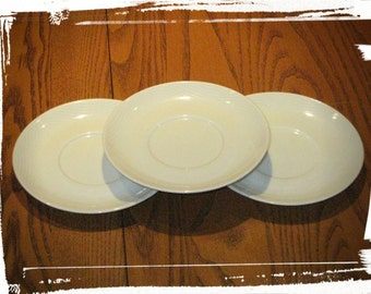 "VINTAGE 70s / 80s Set of 3 Pan Am Airlines Memorabilia Retro ""White Wave"" Porcelain China 5"" Saucer Plates, Bauscher Weiden Bavaria Germany"