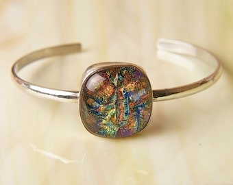 Solid Sterling .925 Silver Handmade Dichroic Fused Glass Bracelet