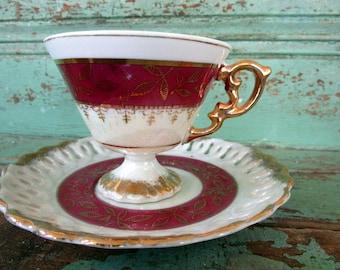 Vintage  Teacup and Saucer Burgundy Red  Gold gilt Luster