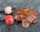 SALE! Volcano Cherry Quartz Turtle Pendant Necklace with Pink Jade and Agate Beads