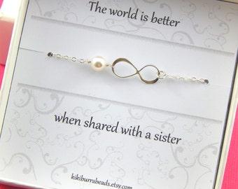 Silver Infinity Bracelet Gift For Sister Friendship Bracelet Pearl Bracelet Gift Boxed Jewelry