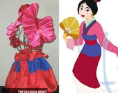 Cosplay Anime Princess Mulan dress inspired  burlesque set, bolero  wrap, apron bustle skirt, French maid
