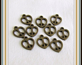 Peace Charms,  Antique Brass Charms, 10 pieces,  Design both sides, loop connector, Beading Findings, Beading Supplies. 1/2 inch Item #468