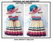 KNITTING PATTERN - Hat and Dress Set - Fantasia Beginner Knit baby girl dress - Newborn to 6 yrs -
