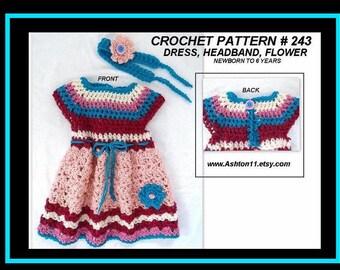 CROCHET PATTERN - Baby Girls Dress and Headband - Newborn to 6 years - Peaches & Cream dress pattern # 243