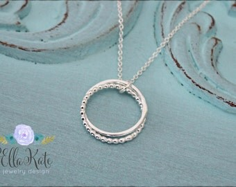 Eternity necklace, Silver two linked rings necklace, Dainty simple circle necklace for sister mother best friend gift