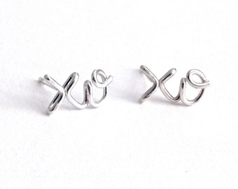 xo earrings. Sterling Silver x and o Studs.