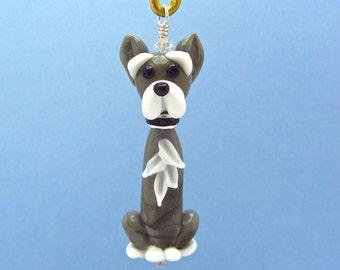 Schnauzer Ornament or Pendant - Handmade Lampwork Glass Bead Creation - SRA