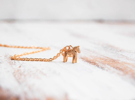 Tiny HORSE Necklace Swedish Dala HORSE Toy Gold Horse 14K Gold Equestrian