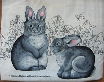 cranston fabric panel stuffed grey Rabbit Bunnies children toy pillows