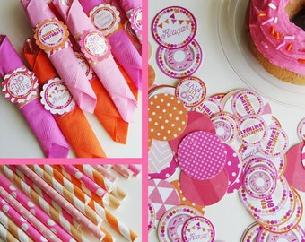 Doughnut Birthday Party Decorations Pink and Orange Fully Assembled