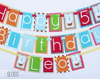 Boy Cupcake Birthday Party Banner Fully Assembled Decorations