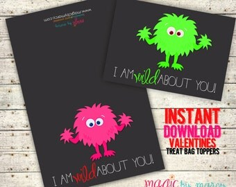 INSTANT DOWNLOAD Printable Wild about you! Valentines for Valentines Day perfect for school or Valentine's Day Parties