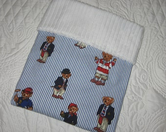ABC Baby Car Seat/Stroller Blanket Featuring Ralph Lauren Polo Teddy Bears Fabric