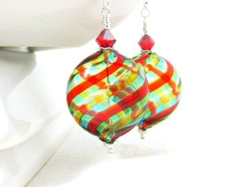 Colorful Blown Glass Earrings, Statement Earrings, Murano Earrings, Light Weight Earrings, Rainbow Glass Earrings, Dangle Earrings - Twist