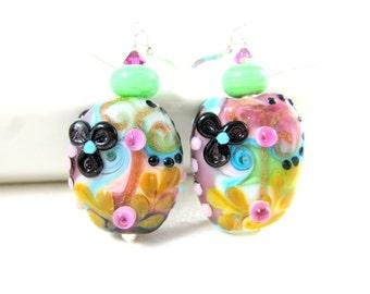 Hippie Earrings, Colorful Pastel Earrings, Funky Earrings, Flower Earrings, Statement Earrings, Spring Earrings, Lampwork Earrings - Groovy