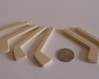 Set of 6 Natural Wood Miniature Decorative Ice Hockey Player Sticks, Tournament, Wedding Boutonnieres, Engraved DIY Pins, Jacobs Wooden Toys