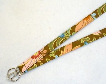 Amy Butler Fabric Lanyard ID Badge Holder Breakaway Lanyard Key Ring Fob Ginger Bliss Dahlias Curry Brown Peach Green Floral