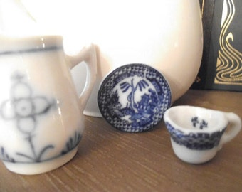 Vintage Miniature Blue Willow Cup and Saucer and Blue and white Pitcher ~ Doll house Collectible