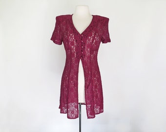 CRANBERRY // berry red lace 90s dress M / L
