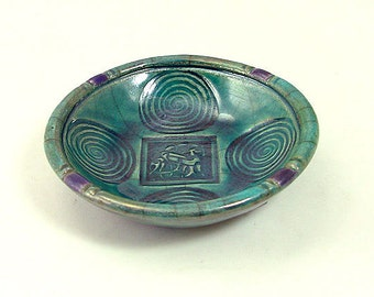 CELTIC SPIRAL  Offering Bowl Handmade Raku Pottery