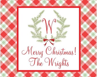 Preppy Christmas Plaid Wreath Sticker, Gift Enclosure, Tag, Address Label - Set of 24