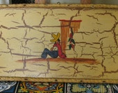 1930's MEXICANA Crackle Wood Rope Trimmed Serving Tray Rectangular Wall Hanging Excellent