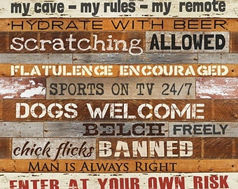 Man Cave Rules, Man Cave, Man Cave Wood Sign,12x16,Marla Rae