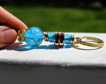 Blue Swirl Keychain Recycled Glass Accessory Zipper Pull