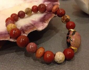 Rhodonite Gemstone bracelet red jasper orange agate boho chunky pink black nugget  stacking jewelry gift for her