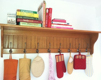 "Coat Rack Large 58"" Wide 9"" Deep With 8 Antique English Hooks Wall Shelf Oak"