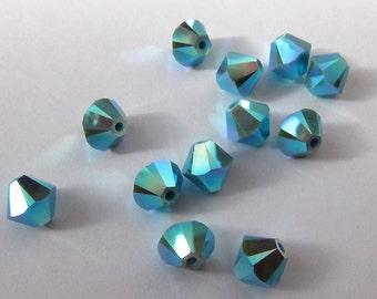 6mm Turquoise AB 2X Swarovski Bicone Beads  - (20)