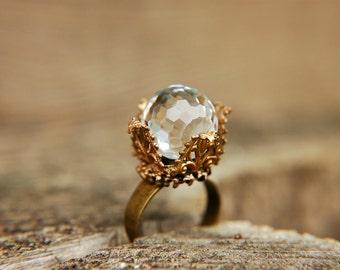 Statement Ring Vintage Swarovski Crystal Dome Filigree Brass  - Lady Isabel.