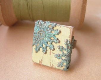 Filigree Cottage Chic Ring Cream and Patina Scrabble Tile Adjustable Band - Town & Country