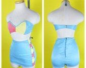 Vintage 1940s Color Block Cutout Bikini Swimsuit