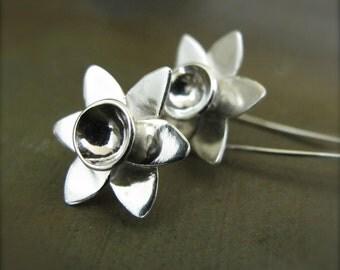 Daffodil Earrings - Spring Is in the Air - Handmade Sterling Silver Narcissus Flower Earrings