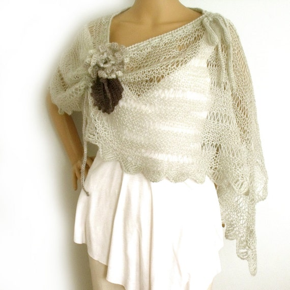 Loose knit poncho Knit capelet Knit poncho Lace by ...