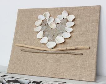Shell & seaglass Heart , Beach Wedding Decoration,  Driftwood Home Decor