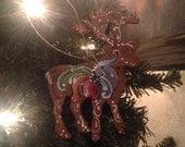 Norwegian rosemaled reindeer ornament   H