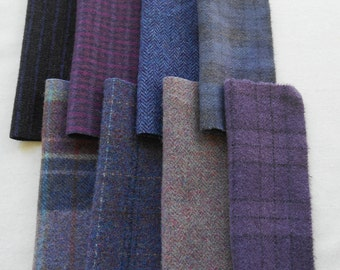Purple - Plum - Violet -Hand Dyed Felted Wool Fabrics in a Wonderful Combination Number 5210