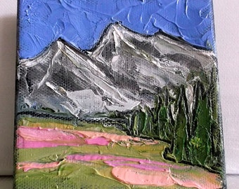 Miniature Impressionist Painting 4x4 Grand Tetons Wildflower Meadow LANDSCAPE Lynne French Art Free Shipping
