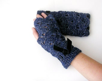 Blue Gloves Lace Fingerless Gloves Blended Blue Arm Warmers Mittens