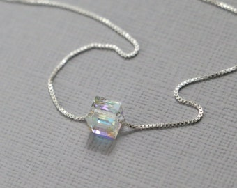 Crystal Cube Necklace, Sterling Silver Layering Necklace, Bridesmaid Necklace Gift for Her Bridesmaid Jewelry Personalized Bridesmaid Gift