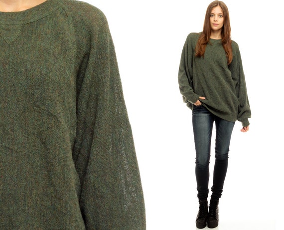 Oversize Sweater Dark Green Olive Drab Knit Slouchy Hipster