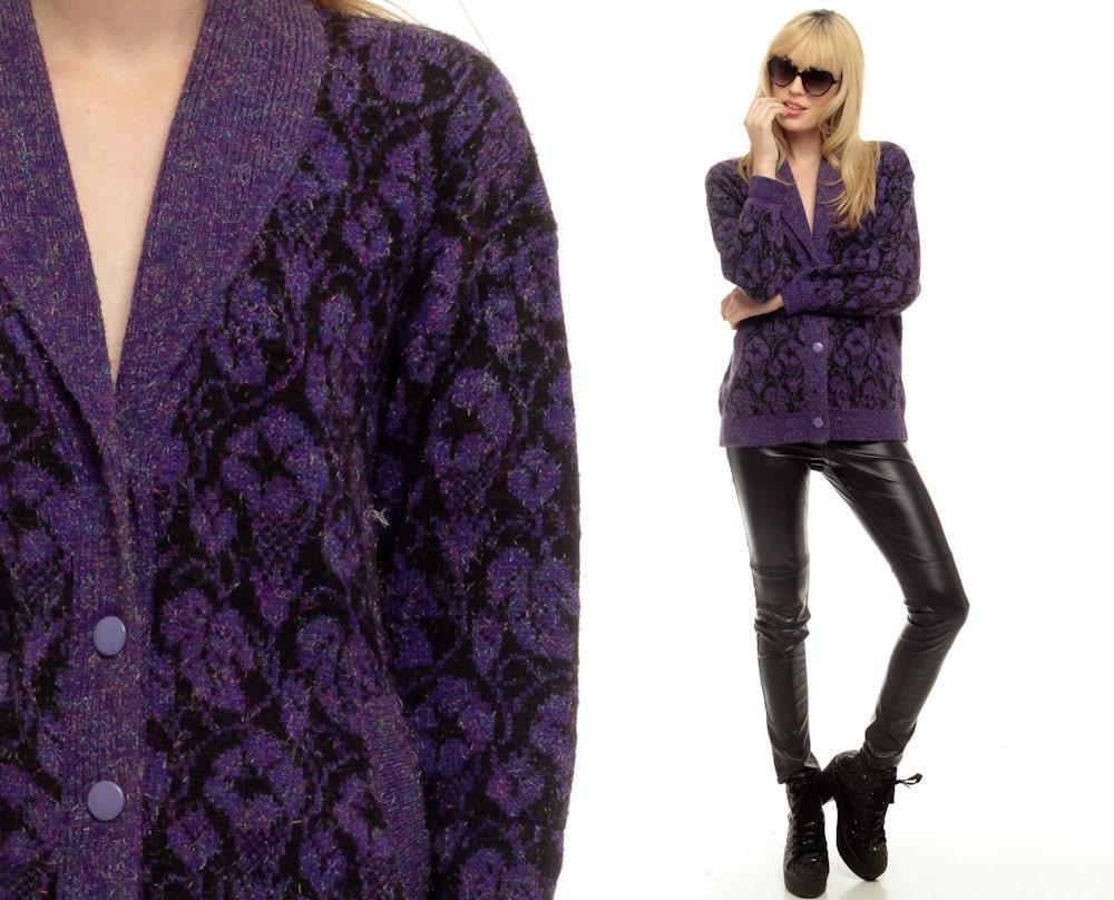 Floral Cardigan Sweater 80s Black Purple Print FUZZY Rainbow