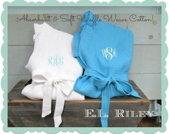 Monogrammed Waffle Robes, Personalized Bridesmaids Gift, Bridesmaid Robe,Wedding Waffle Robe, Set of 12