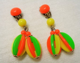Colorful Fun Vintage Neon Colored Earrings